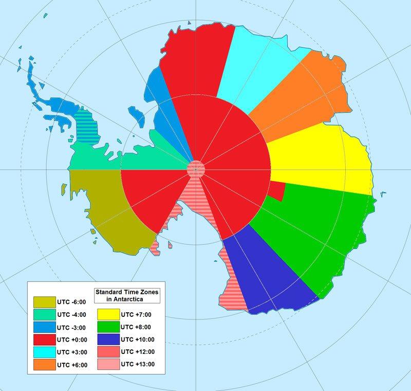 Map of Time Zones in Antarctica