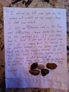 glorious note from a stranger