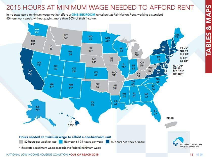 Minimum wage hours for one bedroom