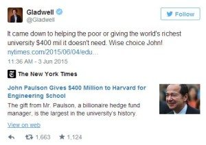 gladwell donation reaction 1
