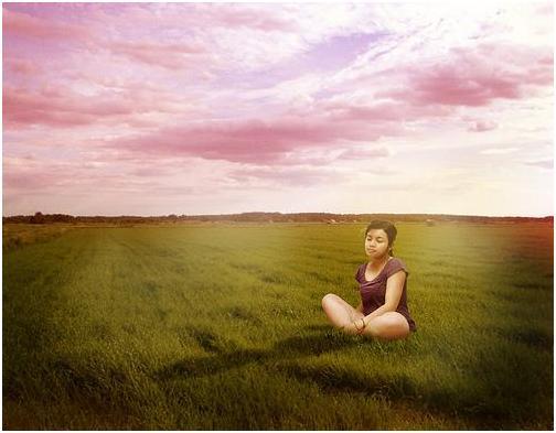 meditation in a field