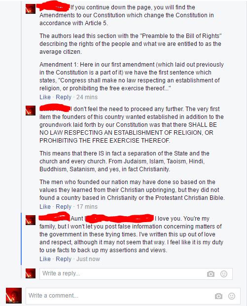 Facebook battle on family politics